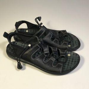Ecco Black Leather Sandals Women Size 39